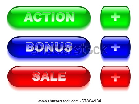 Set of business glass buttons. Vector illustration.