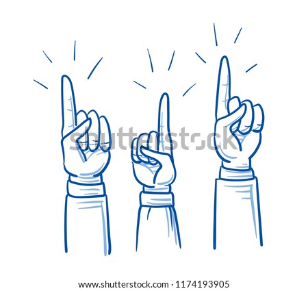 Set of business hands, raised as volunteers, concept for voting, election. Hand drawn cartoon sketch vector illustration, whiteboard marker style coloring.