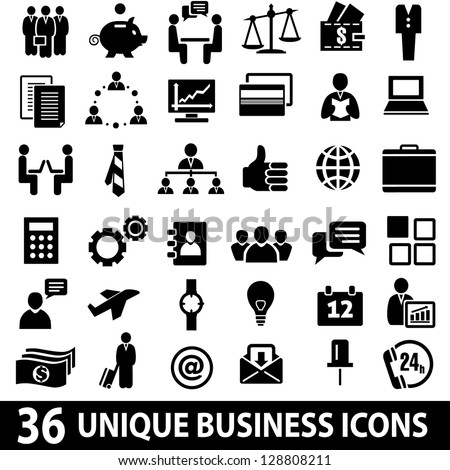 Set of 36 business icons.
