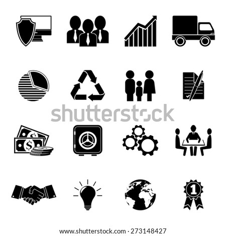 Set of 16 business icons.
