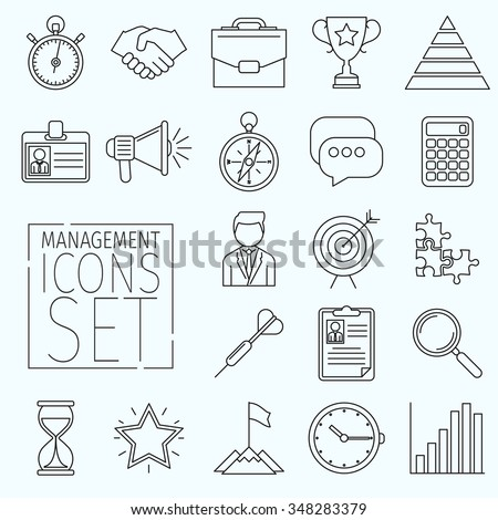 Set of business icons arranged in a line art style. Suitable for illustrating the following topics office, business, marketing, management, and others. Icons have the same thickness contour.