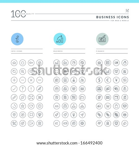 Set of business icons for web and mobile. Info, business and finance icons.