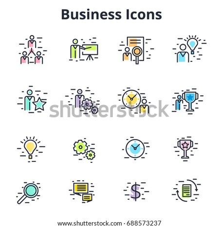 Set of business icons in line flat vector design. Corporate symbols for training, coaching, HR, time management, etc. Minimalistic financial and entrepreneur signs.