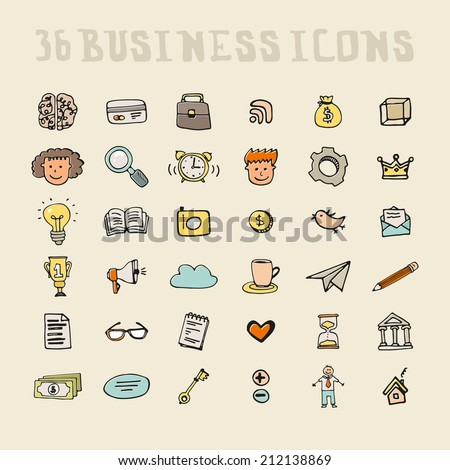 set of business icons made in