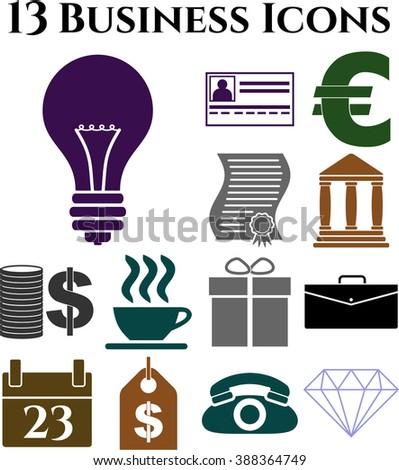 Set of 13 business icons. Minimal Modern.