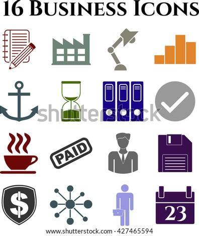 Set of 16 business icons. Minimal Modern.