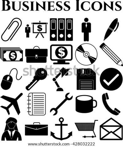 Set of 25 business icons. Minimal Modern.