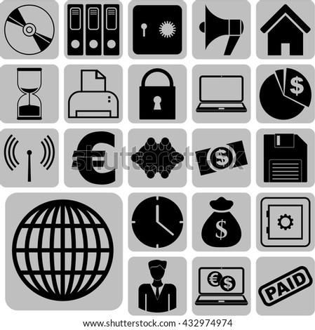 Set of 22 business icons. Minimal Modern.