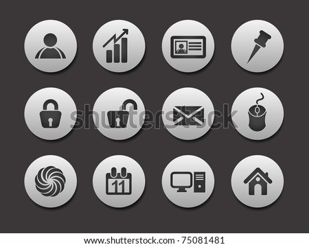 Set of Business Icons on circle button collection Original Illustration.