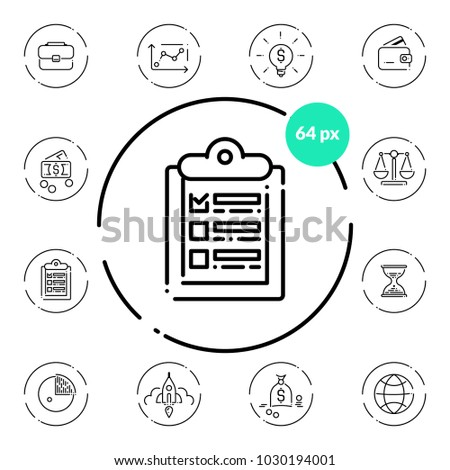 Set of business icons on transparent background. Thin line scalable vector. Wallet, idea, case, graph, money, scales, clock, tablet, chart, world, rocket, startup, report