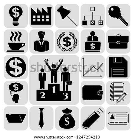 Set of 22 business icons or symbols. Collection. Detailed design. Vector Illustration.
