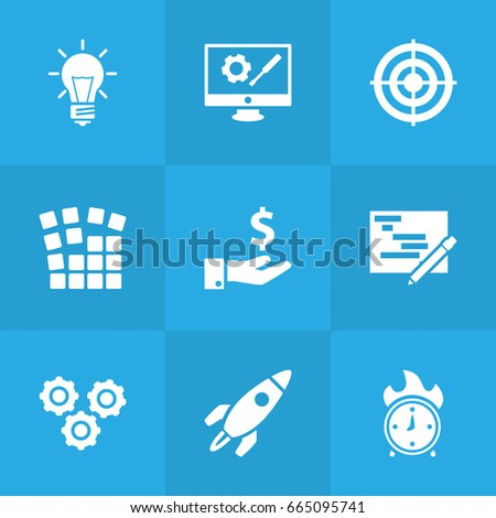 set of 9 business icons set