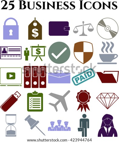 Set of 25 business icons. Set of web Icons.