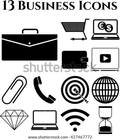 Set of 13 business icons. Set of web Icons.