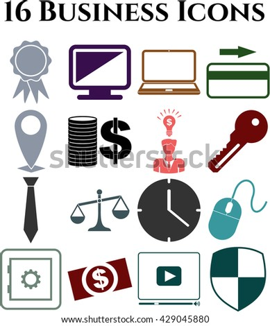 Set of 16 business icons. Set of web Icons.
