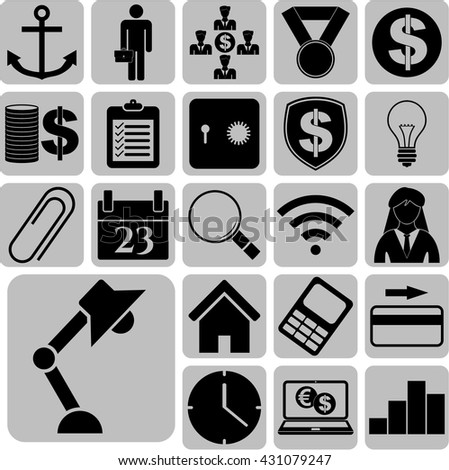 Set of 22 business icons. Set of web Icons.
