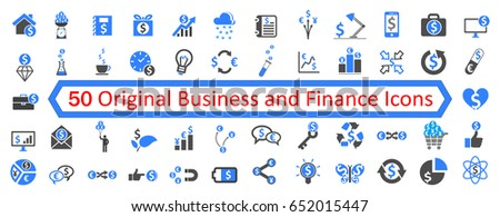 Set 1 of 50 Business Icons - stock vector