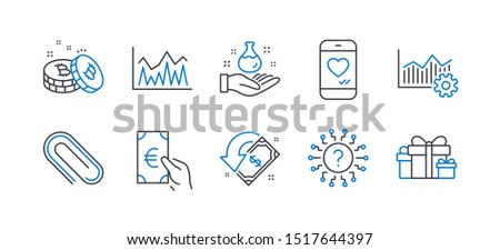 Set of Business icons, such as Bitcoin, Question mark, Love chat, Cashback, Operational excellence, Finance, Investment, Paper clip, Chemistry lab, Holiday presents line icons. Vector