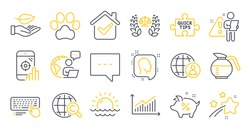 Set of Business icons, such as Dog paw, Justice scales, Graph symbols. Leaf, International recruitment, International Ð¡opyright signs. Blog, Seo phone, Computer keyboard. Loan percent. Vector