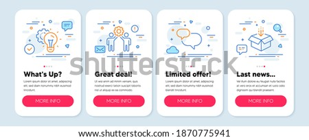 Set of Business icons, such as Employees teamwork, Idea gear, Chat message symbols. Mobile screen app banners. Get box line icons. Collaboration, Technology process, Speech bubble. Vector