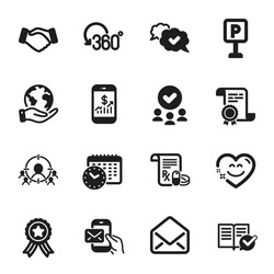 Set of Business icons, such as Handshake, Mobile finance. Certificate, approved group, save planet. Approved documentation, Business targeting, Smile chat. Vector