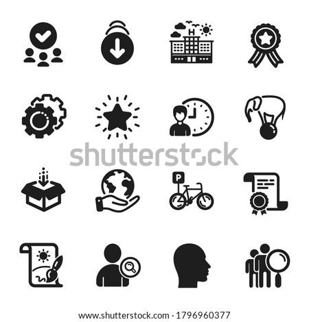Set of Business icons, such as Head, Bicycle parking. Certificate, approved group, save planet. Get box, Creative painting, Elephant on ball. Hotel, Search people, Working hours. Vector
