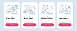 Set of Business icons, such as Loyalty star, Hand click, Working process symbols. Mobile app mockup banners. Wifi line icons. Bonus reward, Location pointer, Engineer helmet. Internet router. Vector