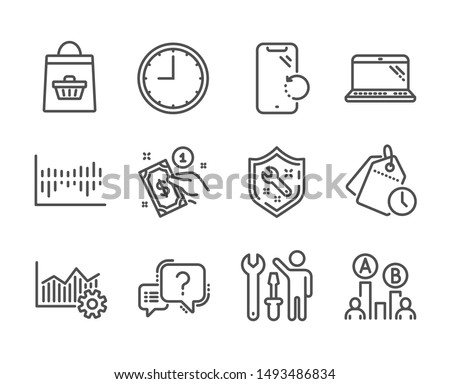 Set of Business icons, such as Operational excellence, Laptop, Question mark, Smartphone recovery, Time management, Repairman, Time, Column diagram, Online buying, Spanner, Payment method. Vector