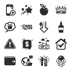 Set of Business icons, such as Seo phone, Money wallet, Payment message symbols. Ice cream, Apple, Education signs. Arena stadium, Scotch bottle, Energy drops. Gift dream, Creativity. Vector
