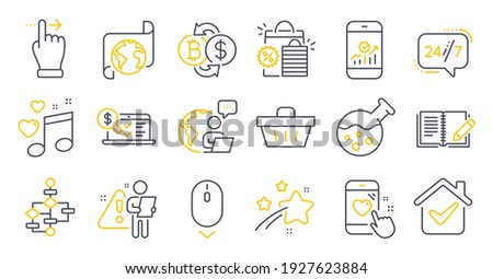 Set of Business icons, such as Shopping basket, Heart rating, Love music symbols. Chemistry lab, Online accounting, 24h service signs. Block diagram, Feedback, Translation service. Vector
