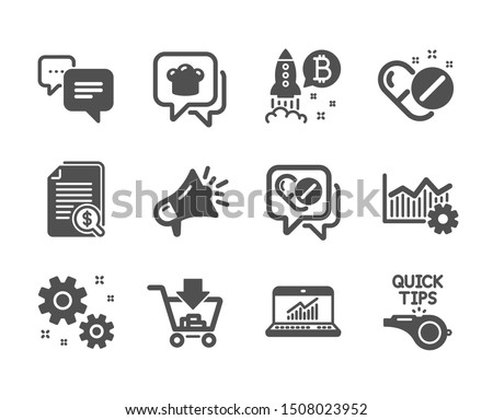 Set of Business icons, such as Shopping, Megaphone, Medical drugs, Cooking hat, Work, Operational excellence, Bitcoin project, Online statistics, Tutorials, Financial documents. Shopping icon. Vector