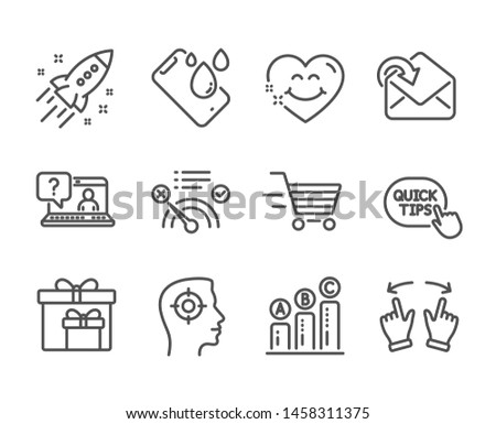 Set of Business icons, such as Smile face, Smartphone waterproof, Delivery boxes, No internet, Faq, Delivery shopping, Receive mail, Recruitment, Graph chart, Move gesture, Startup rocket. Vector