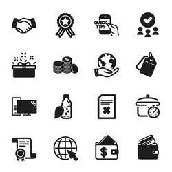 Set of Business icons, such as Water bottle, Education. Certificate, approved group, save planet. Debit card, Handshake, Internet. Computer, Banking money, Present box. Vector