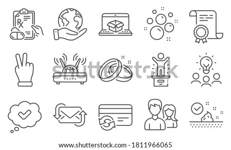 Set of Business icons, such as Winner podium, Wifi. Diploma, ideas, save planet. Prescription drugs, Change card, Wedding rings. Skin care, Refresh mail, Approved. Vector