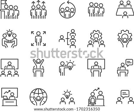 set of business icons, teamwork, working, meeting, management, people