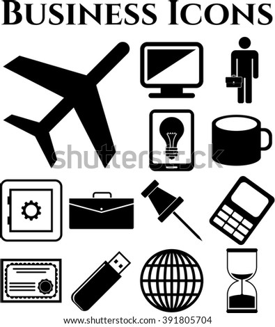 Set of 13 business icons. Universal and Standard Icons.
