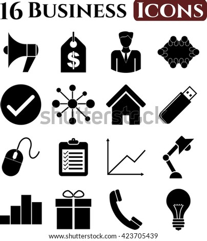 Set of 16 business icons. Universal and Standard Icons.