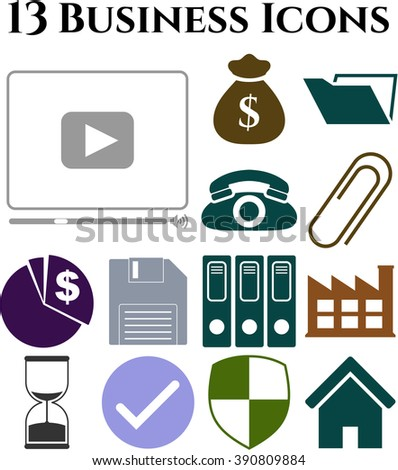 Set of 13 business icons. Universal Modern Icons.