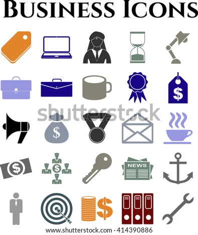 Set of 25 business icons. Universal Modern Icons.