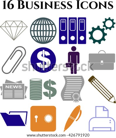 Set of 16 business icons. Universal Modern Icons.