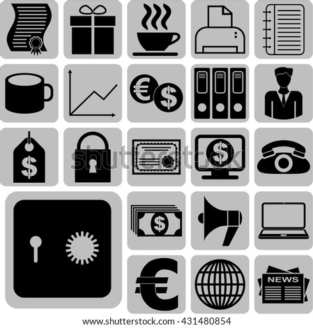 Set of 22 business icons. Universal Modern Icons.