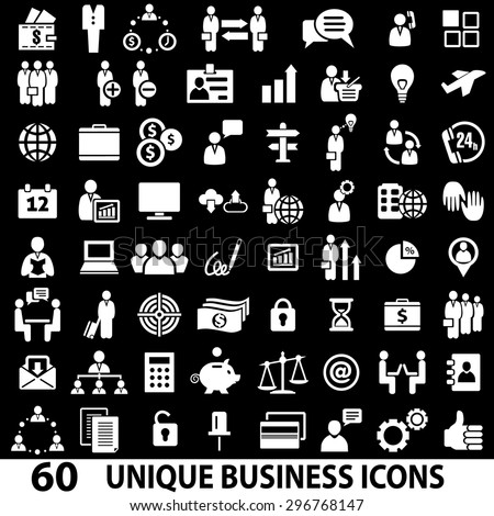 Set of 60 business icons. White and black