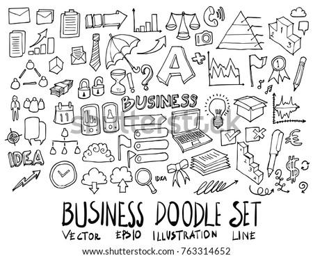 Set of Business illustration Hand drawn doodle Sketch line vector