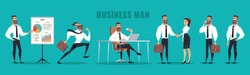 Set of Business Man character design. Vector illustration, isolated on blue background.