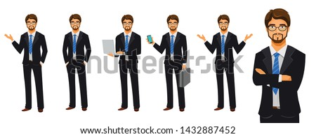 Set of business man poses