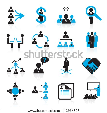Set of 16 business, management and human resources icons