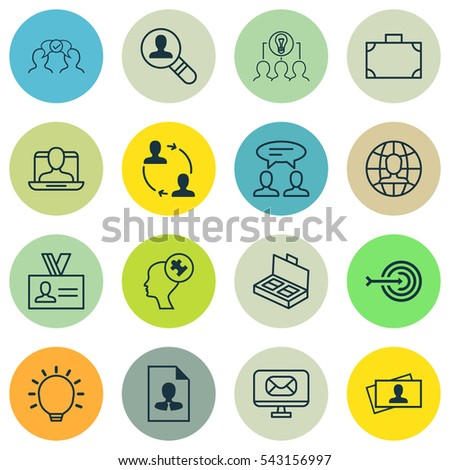 Set Of 16 Business Management Icons. Includes Authentication, Cooperation, Open Vacancy And Other Symbols. Beautiful Design Elements. #543156997