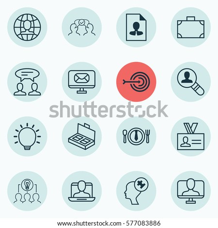 Set Of 16 Business Management Icons. Includes Authentication, Great Glimpse, Dinner And Other Symbols. Beautiful Design Elements. #577083886