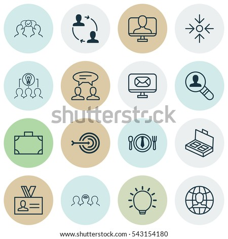 Set Of 16 Business Management Icons. Includes Coaching, Business Aim, Online Identity And Other Symbols. Beautiful Design Elements. #543154180