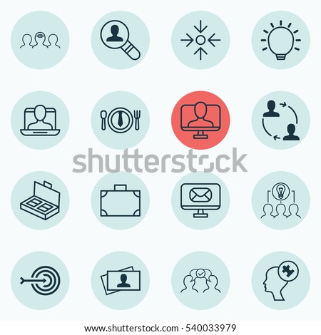 Set Of 16 Business Management Icons. Includes Cooperation, Human Mind, Open Vacancy And Other Symbols. Beautiful Design Elements. #540033979